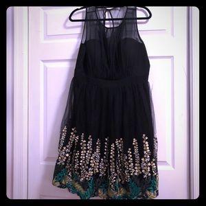 Black Embroidered Floral Vine Geode ModCloth Dress